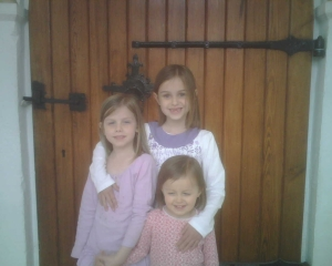 Our girls at the church door where Alfred likely met his sister.
