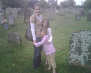 Searching the graveyard at the Church of St Michael's in Oulton.