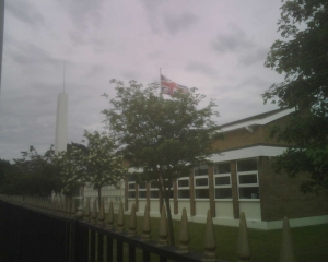The Union Jack was waving above the Lowestoft Ward Building as we left the area.